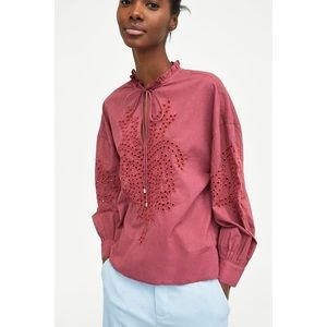 ZARA Raspberry Cotton Embroidered Blouse